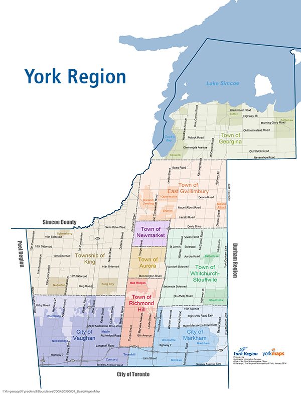 Image of York Region map